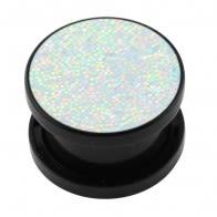 Acrylic Black Glittering Rainbow Screw Fit Flesh Tunnel