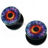 Devil's Eye Logo UV External Screw Fit Ear Flesh Tunnel Gauges
