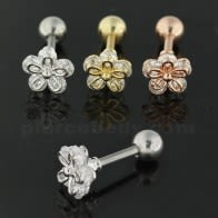 Cartilage Helix Tragus Piercing Jeweled 5 stone Flower Ear Stud