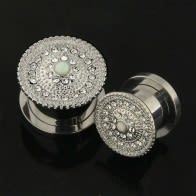 Surgical Steel Micro Jeweled CZ with Center Opal Stone Flesh Tunnel