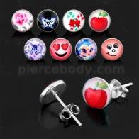 Fancy Logos Sterling Silver Ear Stud