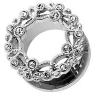 Floral Design with Micro Jeweled CZ Stone Ear Flesh Tunnel