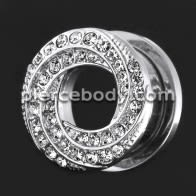 Floral Swirl with Micro Jeweled CZ Stone Ear Flesh Tunnel