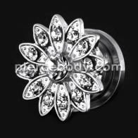 Flower with Micro Jeweled CZ Stone Ear Flesh Tunnel