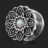 Oxidized Flower with Opal Stone Ear Flesh Tunnel