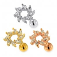 Jeweled Swirl Flower Helix Tragus Piercing Ear Stud