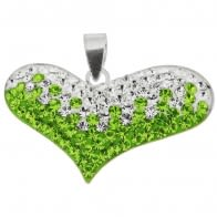 Green And White Crystal stone Heart Silver Pendent