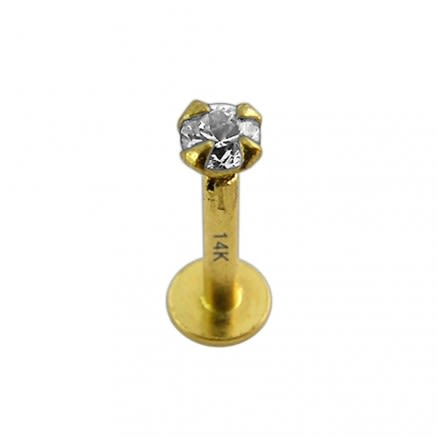 14K Gold Internal Labret with 2mm Stone