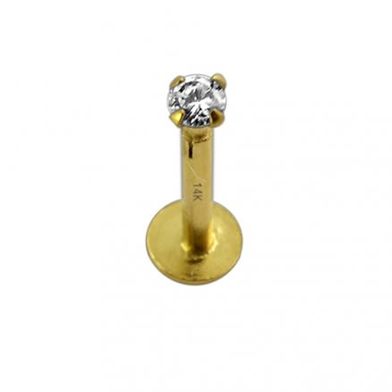 14K Yellow Gold Internal Lip Labret with 2mm Stone