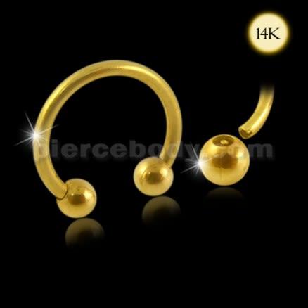 14K Gold Circular Barbell with Ball