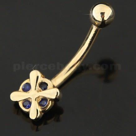 4 StoneStudded Cross 14K Gold Belly Ring