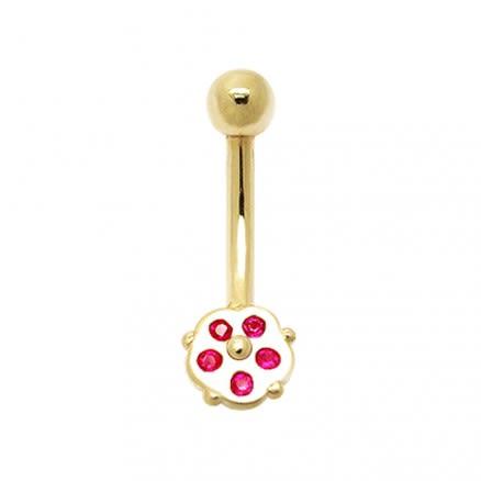 5 Stone Tiny Flower 14K Gold Banana Bar Navel  Ring