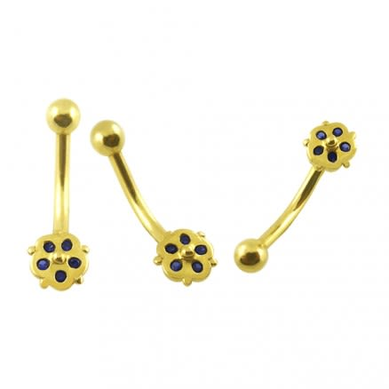 5 Zirconia Stones Tiny Flower 14K Gold Banana Bar Belly Ring