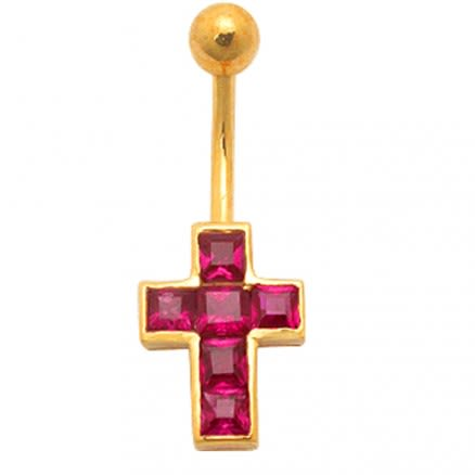 Red Jeweled Cross 14K Gold Belly Banana Ring