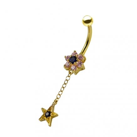 14K Gold Jeweled Floral Flower with Dangling Star Navel Belly Ring