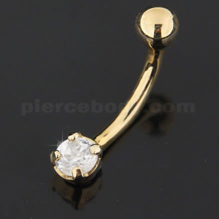 4mm Single Jeweled 14K Gold Navel Belly Ring