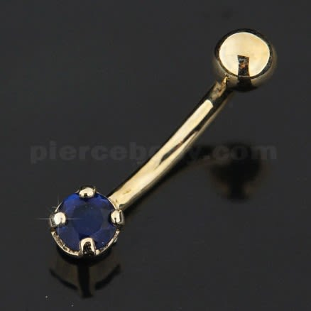 4mm Single Jeweled 14K Gold Navel  Ring