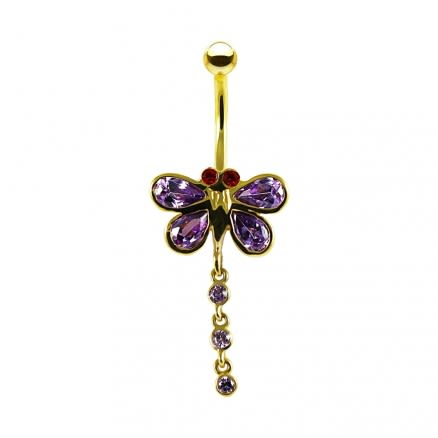 14K Gold Purple Jeweled Butterfly Dangling Navel Belly Ring