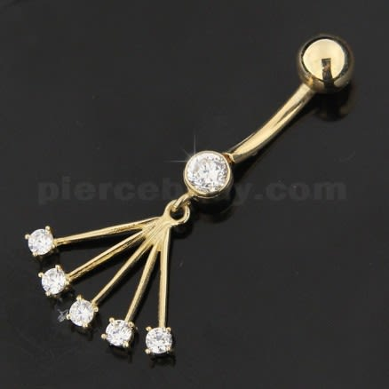CZ Jeweled Hollow 14K Gold Navel Ring