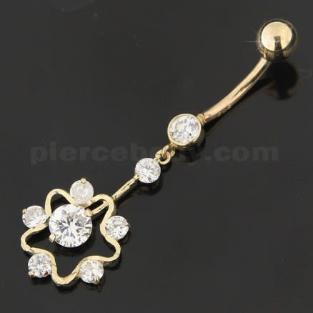 14K Gold Gems Double Layer Flower Hollow dangling Navel Body Jewlery