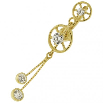 Double Circle Jeweled Dangling 14K Gold Banana Bar Navel Ring