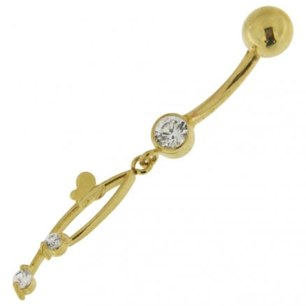 14K Yellow Gold belly ring with dangling Italian horn