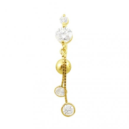 14K gold Belly Ring With Large Dangling Jeweled Flower