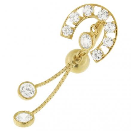 Fancy Jeweled Roman Design  Dangling 14K Gold Navel Ring