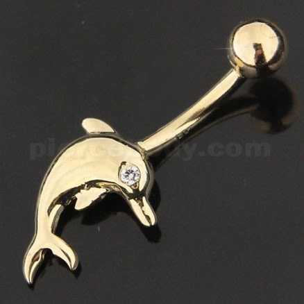 Jeweled Dolfin 14K Gold Curved Bar Navel Belly Ring