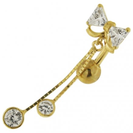 CZ Fancy Jeweled Dangling 14K Gold Navel Body Jewelry Ring