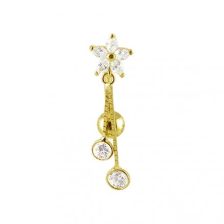 14K Gold Flower Jeweled Dangling Curved Bar Belly Ring