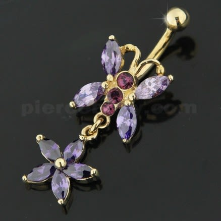 Jeweled Butterfly Dangling 14K Gold Belly Ring