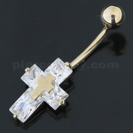 14K Gold Jeweled Cross Navel Ring