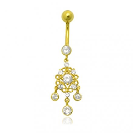 Zirconia Dangling Hollow Top 14K Gold Navel Ring