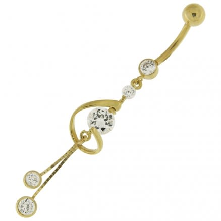 Dangling Jeweled 14K Gold Belly Ring