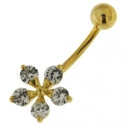 14K Gold Flower Shape Jeweled Navel Ring