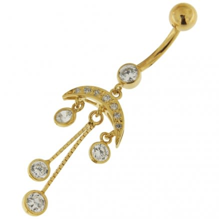 Dangling Tribal Design Jeweled 14K Gold Belly Ring