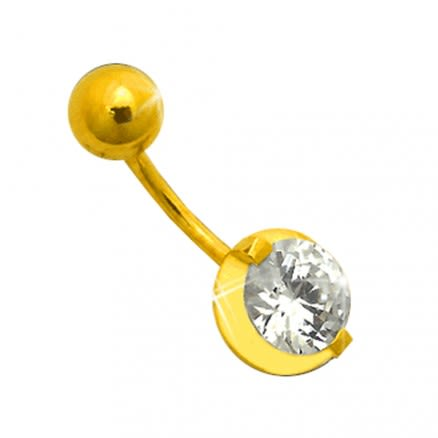 14K Gold Single Jeweled Belly Ring