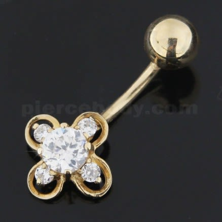 Jeweled Flower 14K Gold Banana Bar Belly Ring