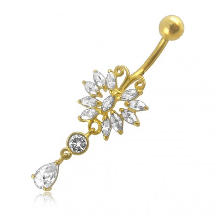 14G Dangling Jeweled 14K Gold Curved Bar Belly Ring