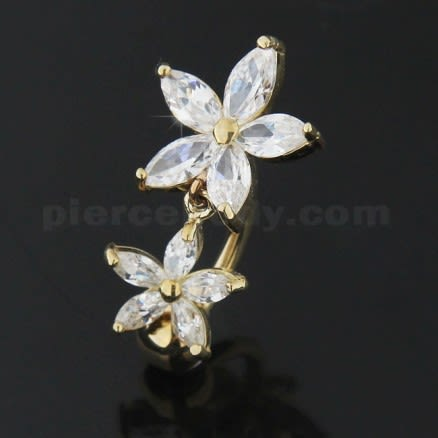 14K Gold Banana Bar Flower Dangling Jeweled Navel Ring Body Jewelry