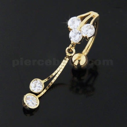 Dangling Jeweled 14K Gold Navel Body Jewelry Ring