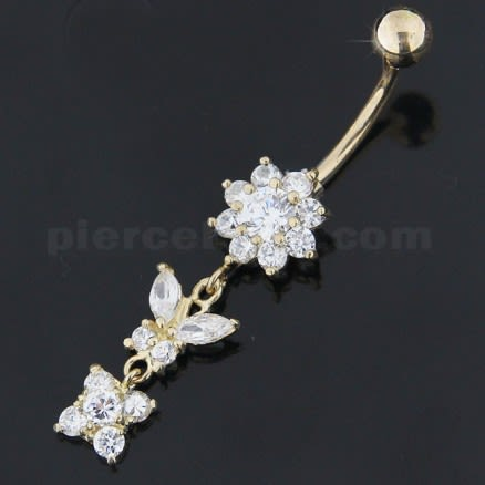 14K Solid Yellow Gold Dangling Flower with butterfly Belly Button Ring