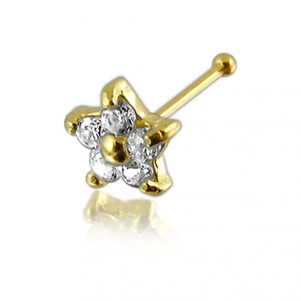Genuine DIAMOND Nose Pin With 14K Gold