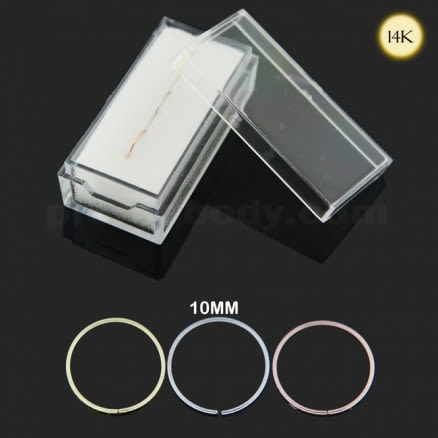 Box of 14K Gold 10 mm Seamless Continuous Nose Hoop Ring