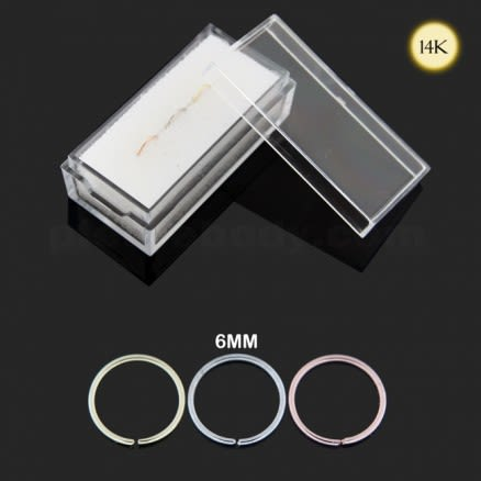Box of 14K Gold Seamless Continuous Nose Hoop Ring
