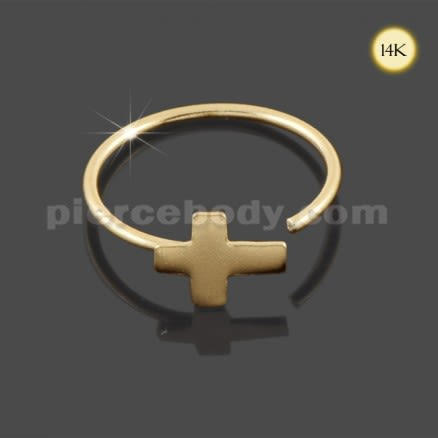 Hoop Nose Ring - 14K Gold Cross Open