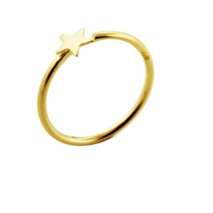 14K Gold Star Open Hoop Nose Ring