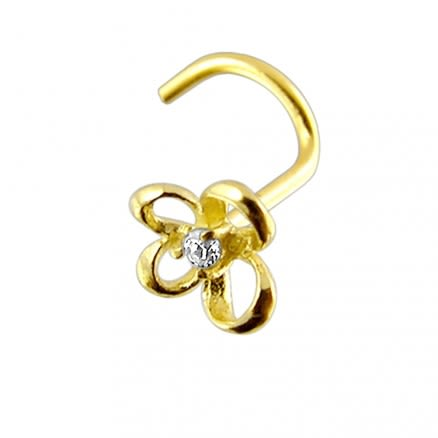 14K Gold Butterfly Nose Screw