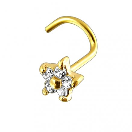 14K Gold Flower Nose Screw With Cubic Zirconia